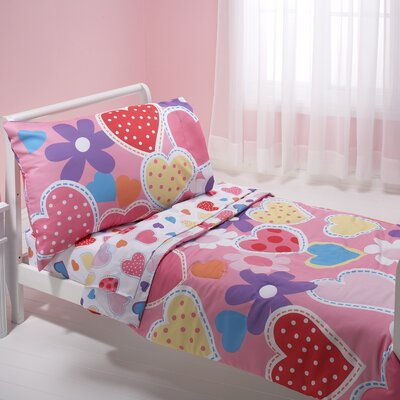 NoJo Hearts 4 Piece Toddler Bedding Set