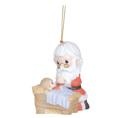 "Precious Moments ""How Great Thou Art"" Kneeling Santa And Manger Ornament"