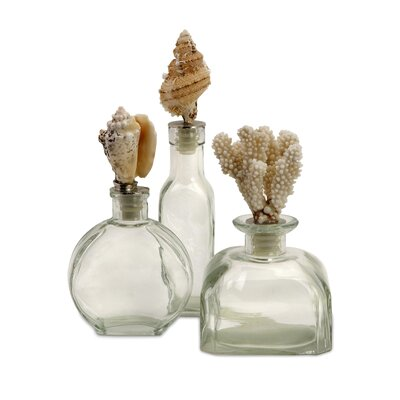 IMAX 3 Piece Shell Stopper Decorative Bottle Set