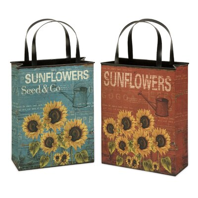 IMAX Sunflower Tin Bag Vase (Set of 2)