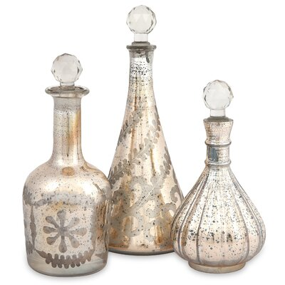 Audrey Etched Glass Decanters (Set of 3)