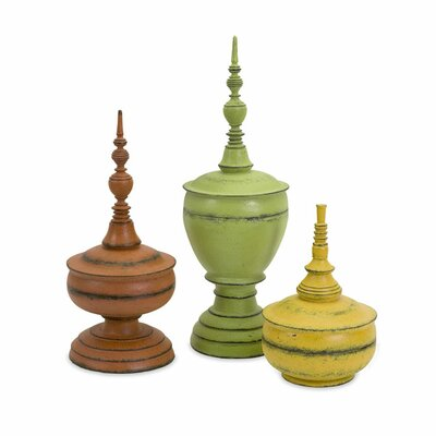 3 Piece Misa Finials Decorative Urn Set