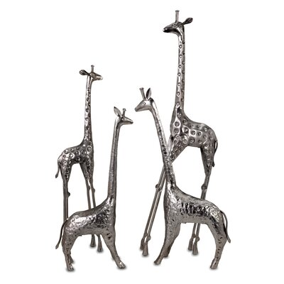 IMAX Safari Giraffe Herd in Nickel (Set of 4)