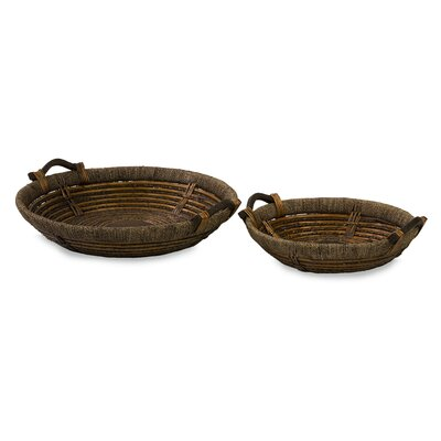 IMAX Oversized Willow Round Serving Tray (Set of 2)
