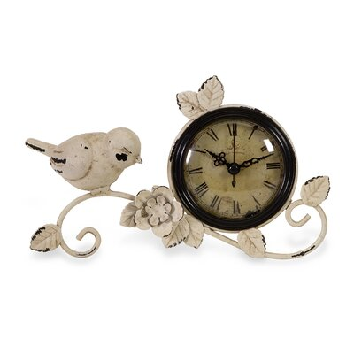 IMAX Bird Tabletop Clock in Antique white