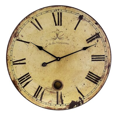 IMAX Large Wall Clock with Pendulum in Antique distressed