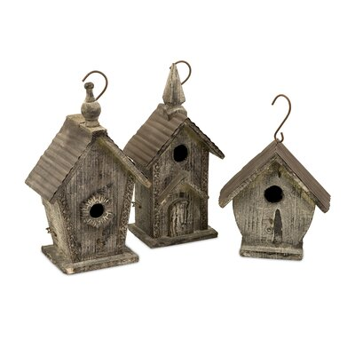 Cottage Mitchell Wood Bird Houses (Set of 3)