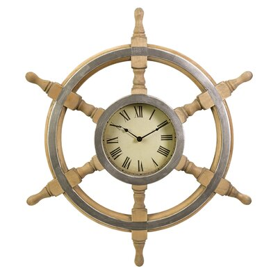 IMAX Wood Ship Wheel Clock in Rustic