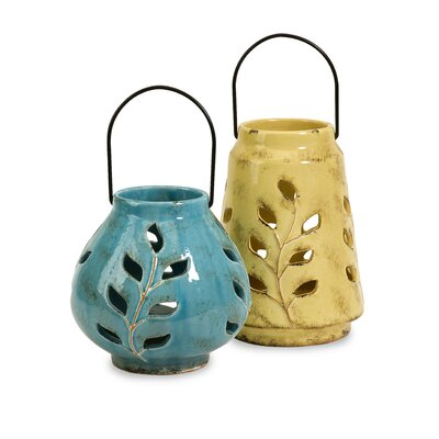 IMAX Austin Ceramic Lanterns (Set of 2)