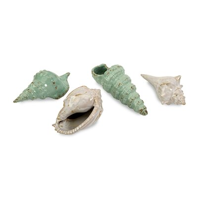 IMAX 4 Piece Ceramic Sea Shells Statue Set