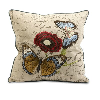 IMAX Julia Embroidered Butterfly Cotton Pillow