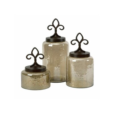 Fleur De Lis Lidded Jar (Set of 3)
