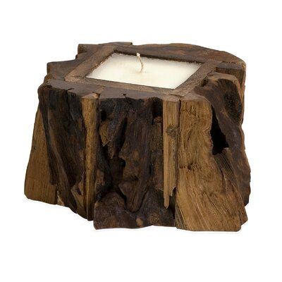 IMAX Small Teak Wood Candle