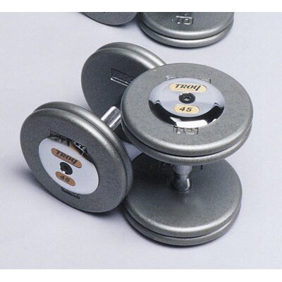 Troy Barbell 55 lbs Pro-Style Cast Dumbbells in Gray