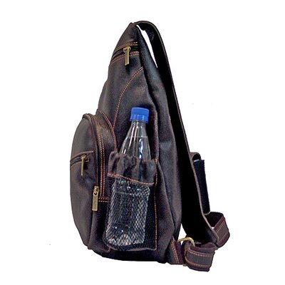David King Backpack-Style Cross Body Bag in Distressed Leather