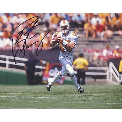NFL Peyton Manning Tennessee White Jersey Rolling Out to Pass Horizontal Autographed