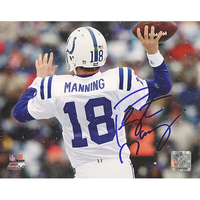 Steiner Sports NFL Peyton Manning White Jersey Throwing Vs. Bills Horizontal Autographed