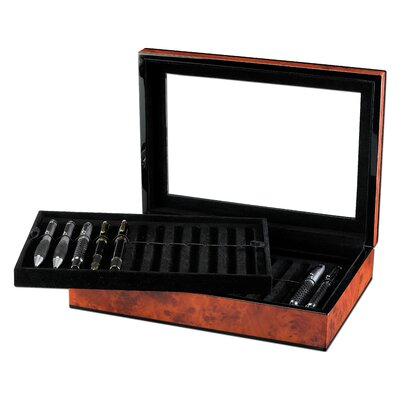 Ragar Classic Poet Pen Collector Box with 2 Trays in Faux Burl Wood Gloss