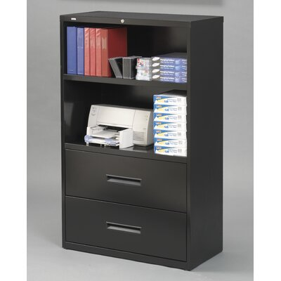 "CommClad 36"" 2 Drawer 2 Shelf Combo Unit in Black"