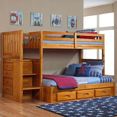 Discovery World Furniture Weston Twin over Full Staircase Bunk Bed with Storage