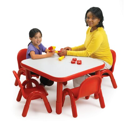 Angeles 5Square Baseline Preschool Table and Chair Set in Candy Apple Red