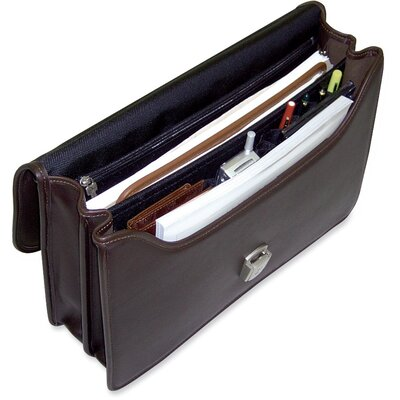 Jack Georges Platinum Double Gusset Flap Briefcase with Open Back