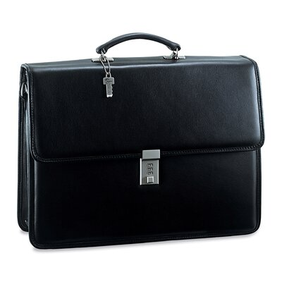Jack Georges Platinum Double Gusset Flap Briefcase with Combination Lock