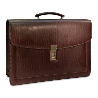 Jack Georges Belting Triple Gusset Flap Over Briefcase with Combination Lock