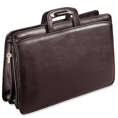 Jack Georges University Triple Gusset Zip Top Tri-Pocket Briefcase