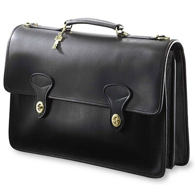 Jack Georges University Double Gusset 2 Turn Leather Briefcase