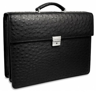Jack Georges Genuine Ostrich Double Gusset Leather Briefcase