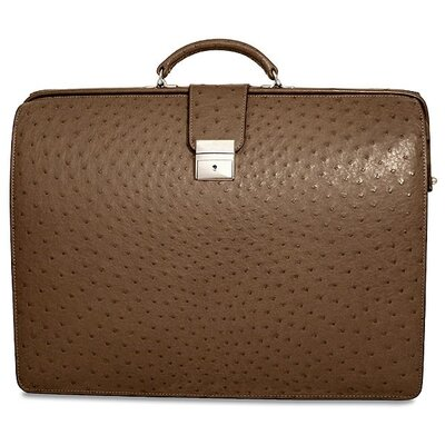 Jack Georges Genuine Ostrich Classic Leather Laptop Briefcase
