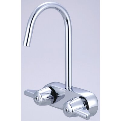 "Central Brass Leg Double Handle Deck Mount Tub Only Faucet Trim 3.38"" Centers and 6.88"" Gooseneck Spout Trim"