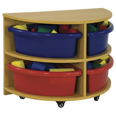 ECR4kids Half Circle Low Storage Center 4 Compartment Cubby