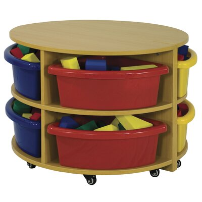 ECR4kids Two Piece Round Low Storage Center 8 Compartment Cubby