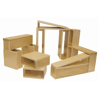 ECR4kids 18 Piece Hollow Wooden Block Set