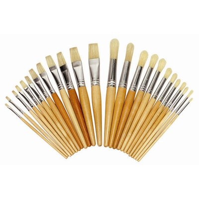 ECR4kids 24 Piece Hardwood Paint Brush in Assorted (Set  of 12)