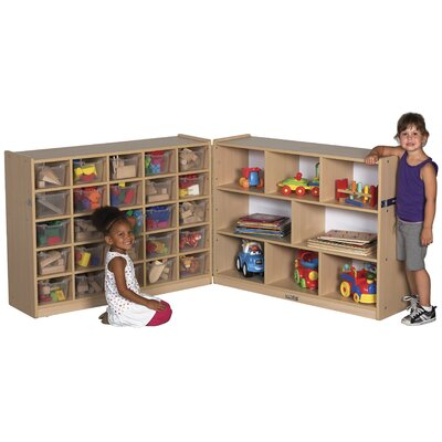 "ECR4kids 36"" Fold & Lock Storage Cabinet with 25 Tray"