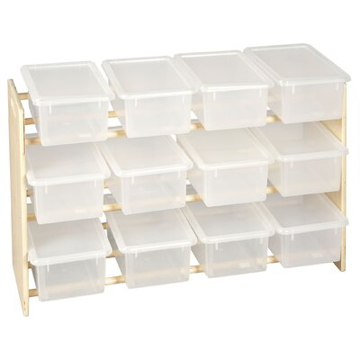 ECR4kids 3-Tier Wood Rack 12 Compartment Cubby
