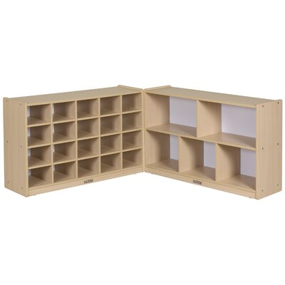"ECR4kids 30"" Fold and Lock Storage Cabinet 25 Compartment Cubby"