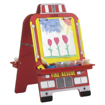 ECR4kids Fire Engine Easel with Paint Crate