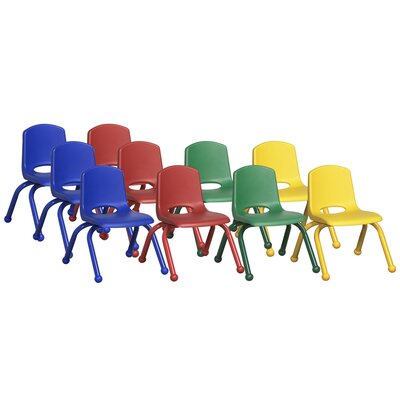 "ECR4kids 10"" Plastic Stack Chair With Matching Painted Legs (Set of 10)"