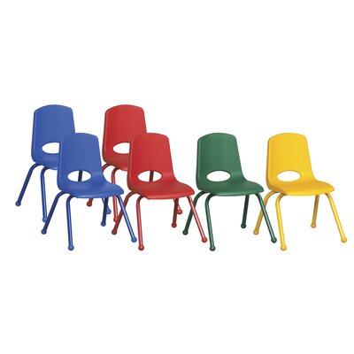 "ECR4kids 14"" Plastic Stack Chair with Matching Painted Legs (Set of 6)"