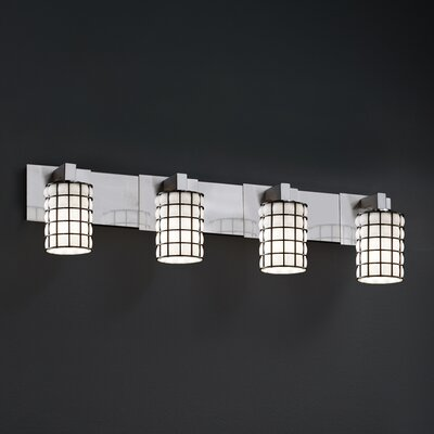 Justice Design Group Wire Glass Modular 4 Light Bath Vanity Light