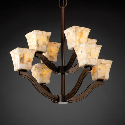 Justice Design Group Bend Alabaster Rocks 8 Light Chandelier
