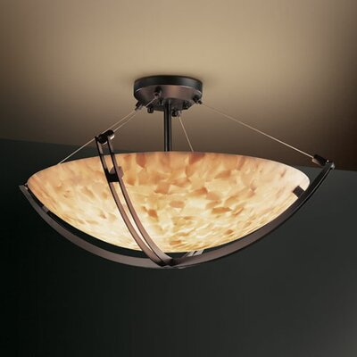 Justice Design Group Alabaster Rocks Crossbar 12 Light Semi Flush Mount
