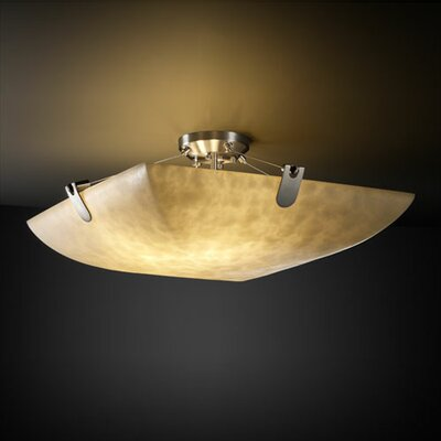 Justice Design Group Clouds U-Clips 6 Light Semi Flush Mount