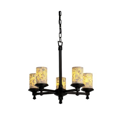 Justice Design Group Deco Alabaster Rocks 5 Light Chandelier