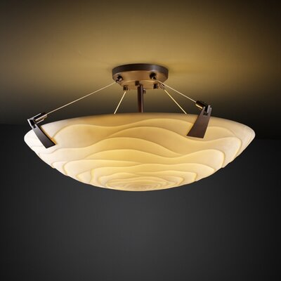 Justice Design Group Tapered Clips Porcelina 6 Light Semi Flush Mount