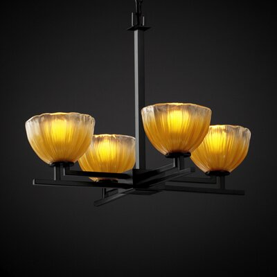 Justice Design Group Aero Veneto Luce 4 Light Chandelier